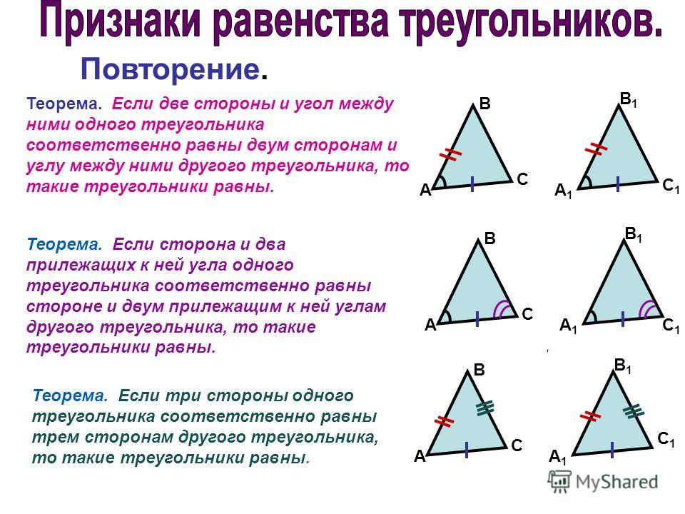 Теорема. Если две стороны и угол между ними одного треугольника соответственно равны двум сторонам и углу между ними другого треугольника, то такие треугольники равны. A B C A1A1 B1B1 C1C1 Теорема. Если сторона и два прилежащих к ней угла одного треу