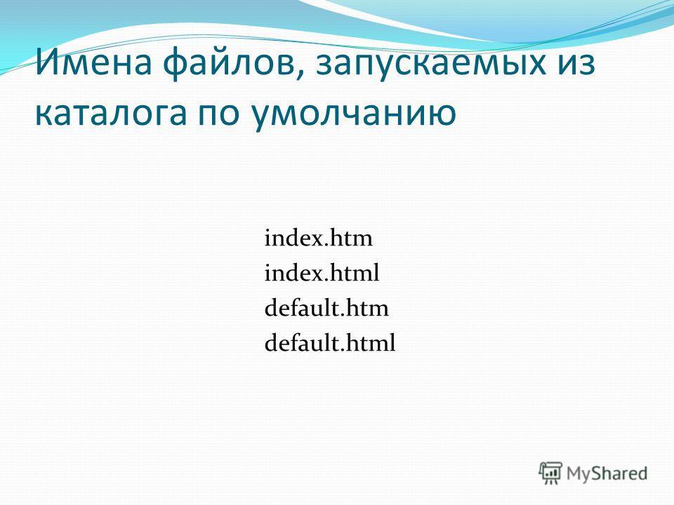 Имена файлов, запускаемых из каталога по умолчанию index.htm index.html default.htm default.html