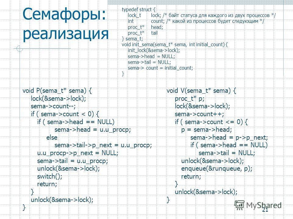 21 Семафоры: реализация typedef struct { lock_tlock; /* байт статуса для каждого из двух процессов */ intcount; /* какой из процессов будет следующим */ proc_t*head; proc_t*tail } sema_t; void init_sema(sema_t* sema, int initial_count) { init_lock(&s