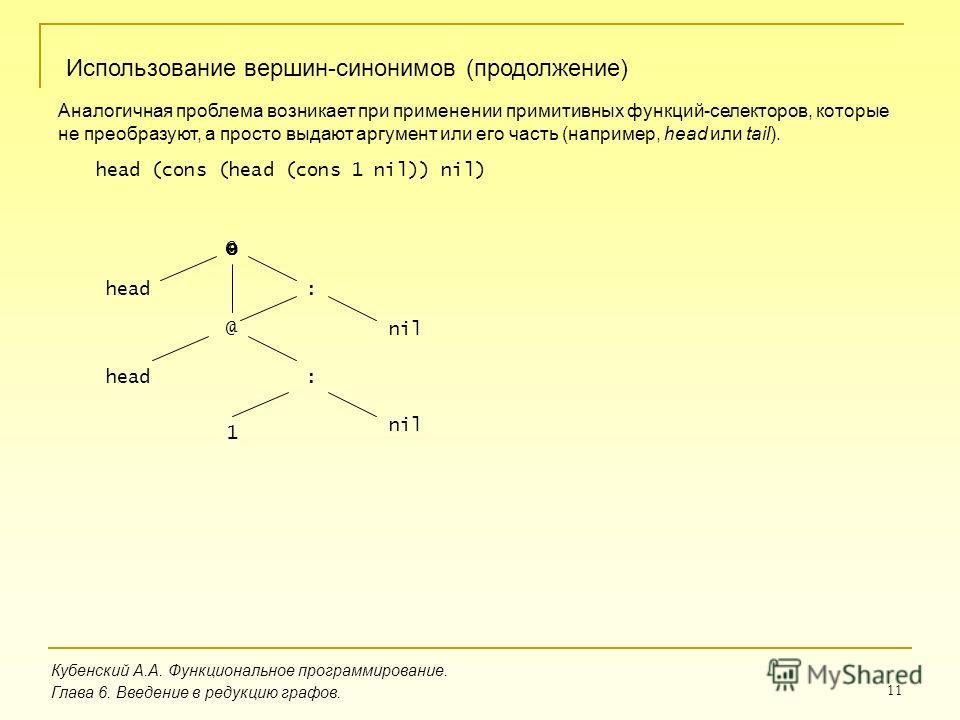 11 Кубенский А.А. Функциональное программирование. Использование вершин-синонимов (продолжение) Глава 6. Введение в редукцию графов. Аналогичная проблема возникает при применении примитивных функций-селекторов, которые не преобразуют, а просто выдают