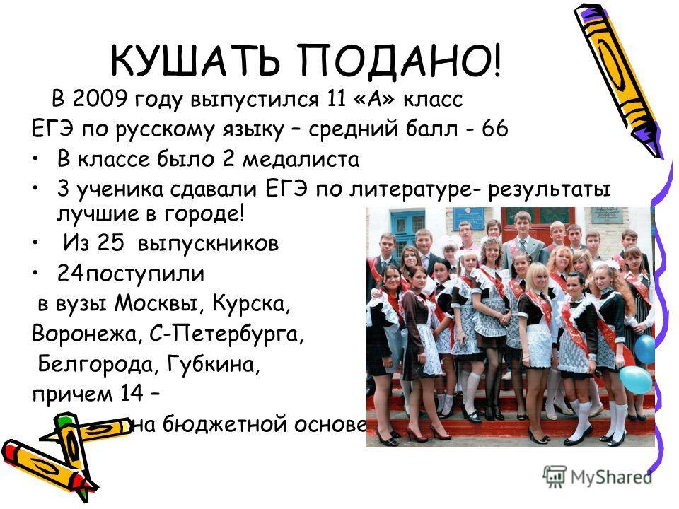 КУШАТЬ ПОДАНО! В 2009 году выпустился 11 «А» класс ЕГЭ по русскому языку – средний балл - 66 В классе было 2 медалиста 3 ученика сдавали ЕГЭ по литературе- результаты лучшие в городе! Из 25 выпускников 24поступили в вузы Москвы, Курска, Воронежа, С-П