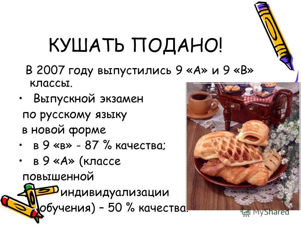 КУШАТЬ ПОДАНО! В 2007 году выпустились 9 «А» и 9 «В» классы. Выпускной экзамен по русскому языку в новой форме в 9 «в» - 87 % качества; в 9 «А» (классе повышенной индивидуализации обучения) – 50 % качества.