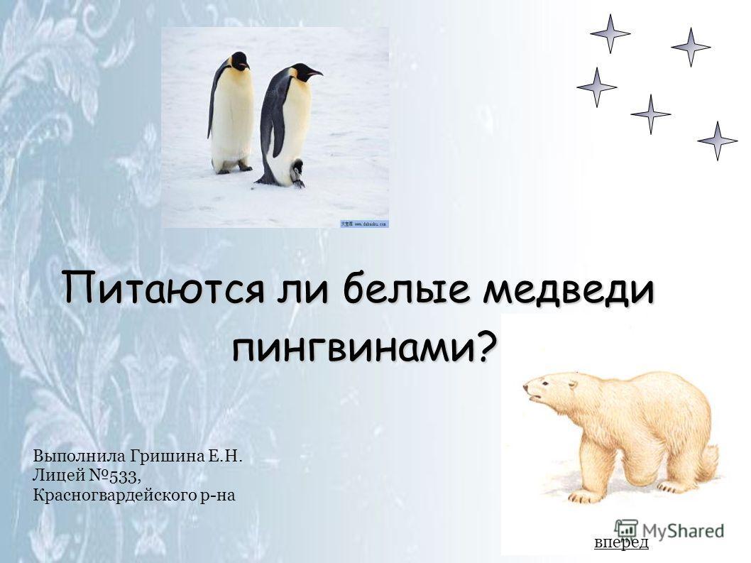 Выполнила Гришина Е.Н. Лицей 533, Красногвардейского р-на Питаются ли белые медведи пингвинами? вперед
