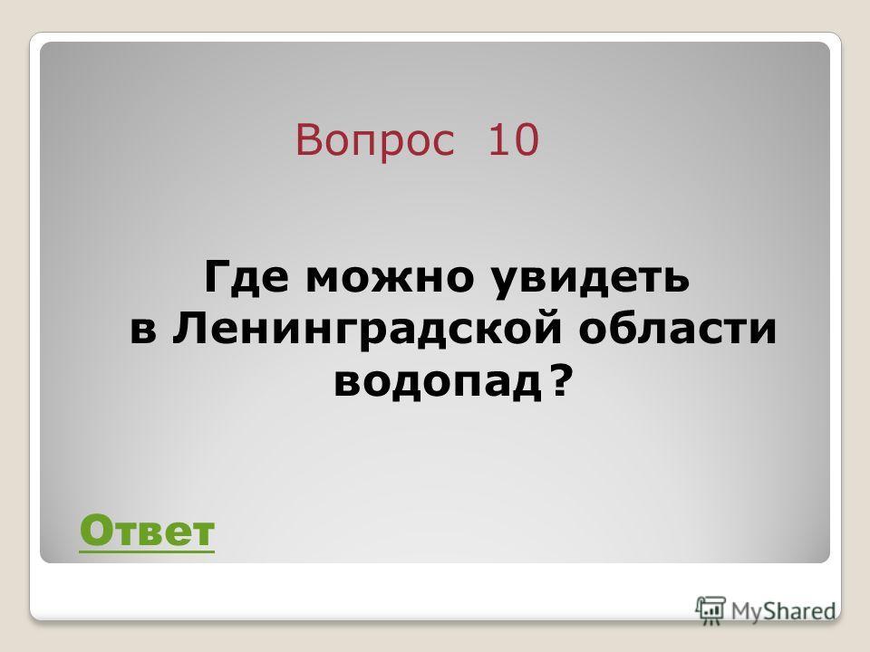 Вопрос 10 Ответ Где можно увидеть в Ленинградской области водопад ?