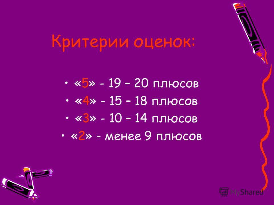 Критерии оценок: «5» - 19 – 20 плюсов «4» - 15 – 18 плюсов «3» - 10 – 14 плюсов «2» - менее 9 плюсов