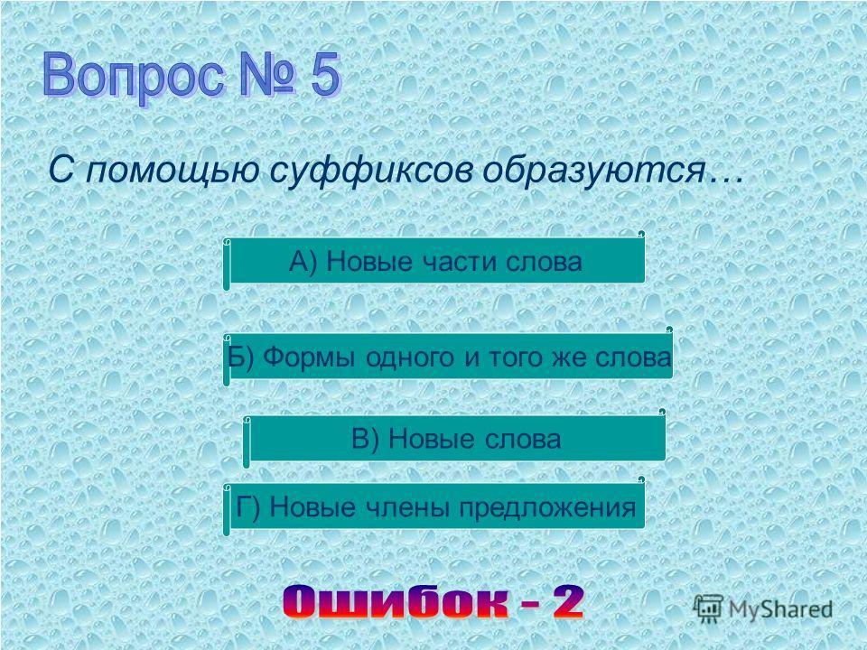 С помощью суффиксов образуются… В) Новые слова Б) Формы одного и того же слова А) Новые части слова Г) Новые члены предложения