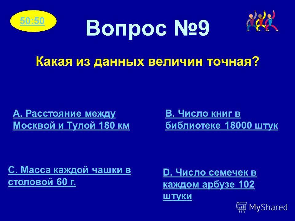 Вопрос 9 Какая из данных величин точная? A. Расстояние между Москвой и Тулой 180 км C. Масса каждой чашки в столовой 60 г. B. Число книг в библиотеке 18000 штук D. Число семечек в каждом арбузе 102 штуки 50:50