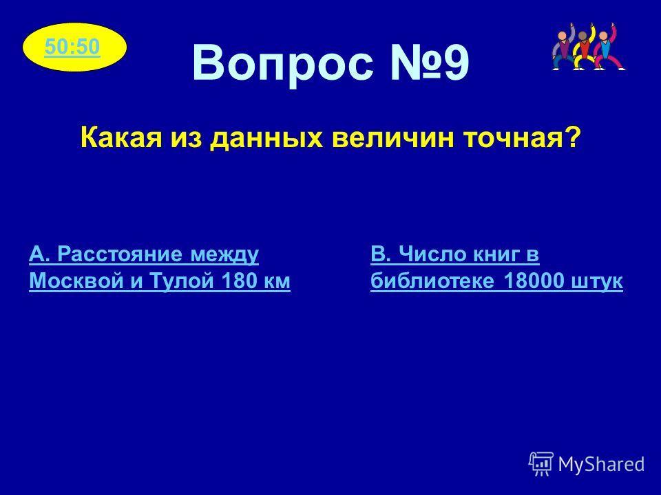 Вопрос 9 Какая из данных величин точная? A. Расстояние между Москвой и Тулой 180 км B. Число книг в библиотеке 18000 штук 50:50
