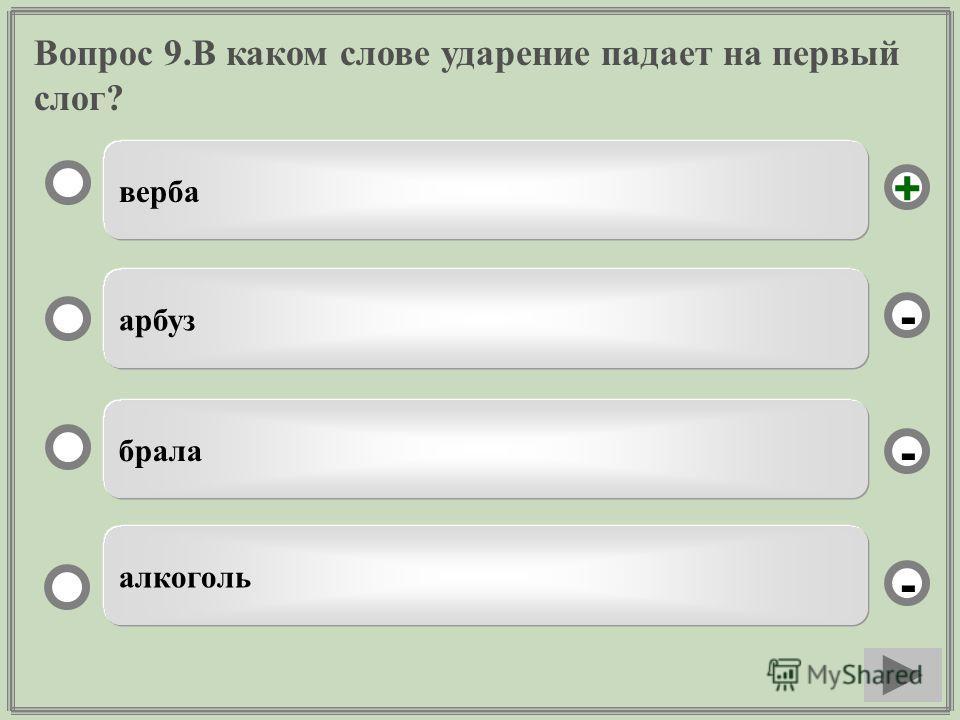 Вопрос 9.В каком слове ударение падает на первый слог? верба арбуз брала алкоголь - - + -