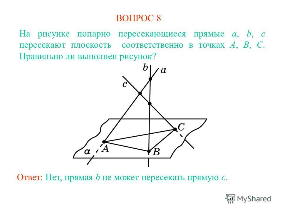 ВОПРОС 8 Ответ: Нет, прямая b не может пересекать прямую c. На рисунке попарно пересекающиеся прямые a, b, c пересекают плоскость соответственно в точках A, B, C. Правильно ли выполнен рисунок?