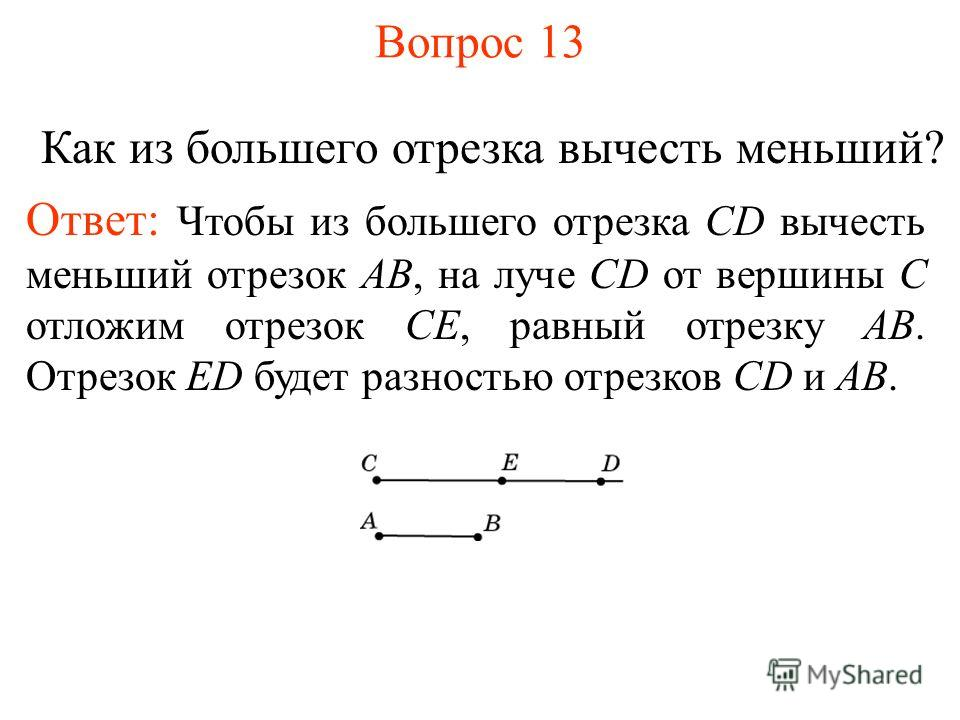 Вопрос 13 Как из большего отрезка вычесть меньший? Ответ: Чтобы из большего отрезка CD вычесть меньший отрезок AB, на луче CD от вершины C отложим отрезок CЕ, равный отрезку AB. Отрезок ЕD будет разностью отрезков СD и AB.