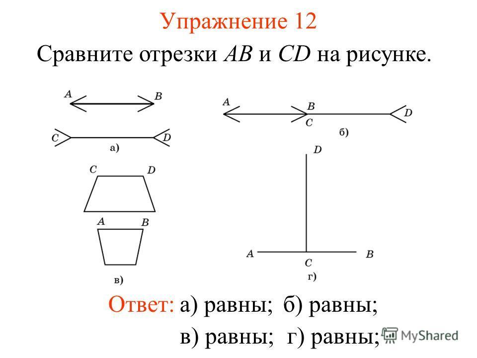 Упражнение 12 Сравните отрезки AB и CD на рисунке. Ответ:а) равны;б) равны; в) равны;г) равны;