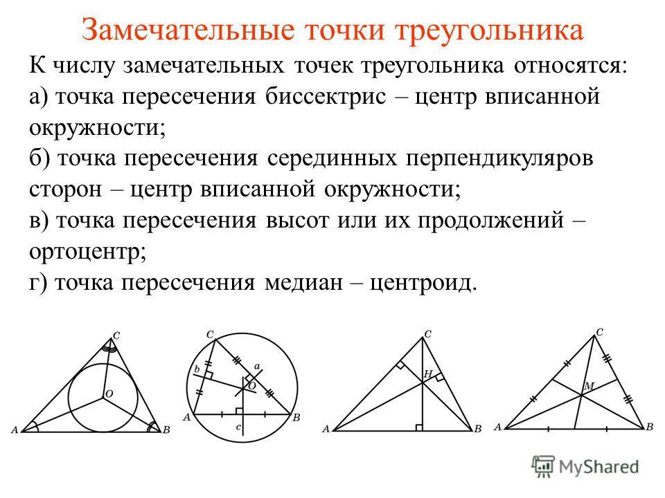 Замечательные точки треугольника К числу замечательных точек треугольника относятся: а) точка пересечения биссектрис – центр вписанной окружности; б) точка пересечения серединных перпендикуляров сторон – центр вписанной окружности; в) точка пересечен