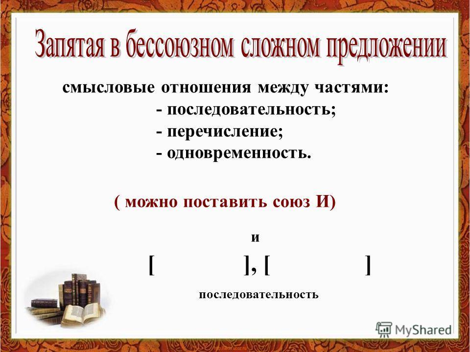 смысловые отношения между частями: - последовательность; - перечисление; - одновременность. ( можно поставить союз И) [ ], [ ] и последовательность