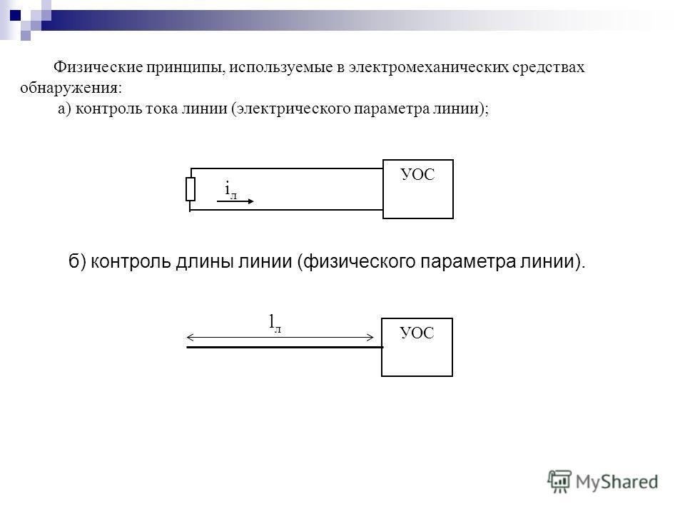 УОС iлiл lлlл Физические принципы, используемые в электромеханических средствах обнаружения: а) контроль тока линии (электрического параметра линии); б) контроль длины линии (физического параметра линии).