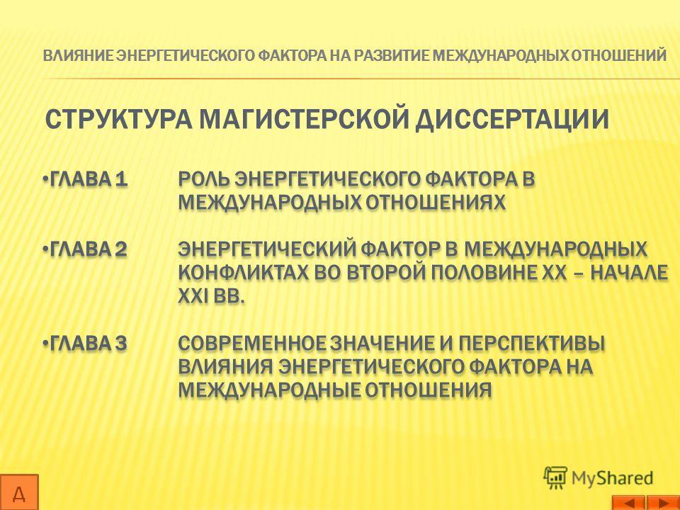 СТРУКТУРА МАГИСТЕРСКОЙ ДИССЕРТАЦИИ ГЛАВА 1 РОЛЬ ЭНЕРГЕТИЧЕСКОГО ФАКТОРА В МЕЖДУНАРОДНЫХ ОТНОШЕНИЯХ ГЛАВА 2 ЭНЕРГЕТИЧЕСКИЙ ФАКТОР В МЕЖДУНАРОДНЫХ КОНФЛИКТАХ ВО ВТОРОЙ ПОЛОВИНЕ XX – НАЧАЛЕ XXI ВВ. ГЛАВА 3 СОВРЕМЕННОЕ ЗНАЧЕНИЕ И ПЕРСПЕКТИВЫ ВЛИЯНИЯ ЭНЕР