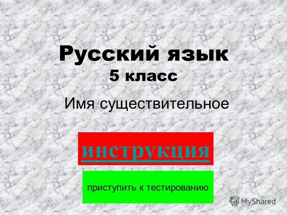 Русский язык 5 класс Имя существительное приступить к тестированию инструкция