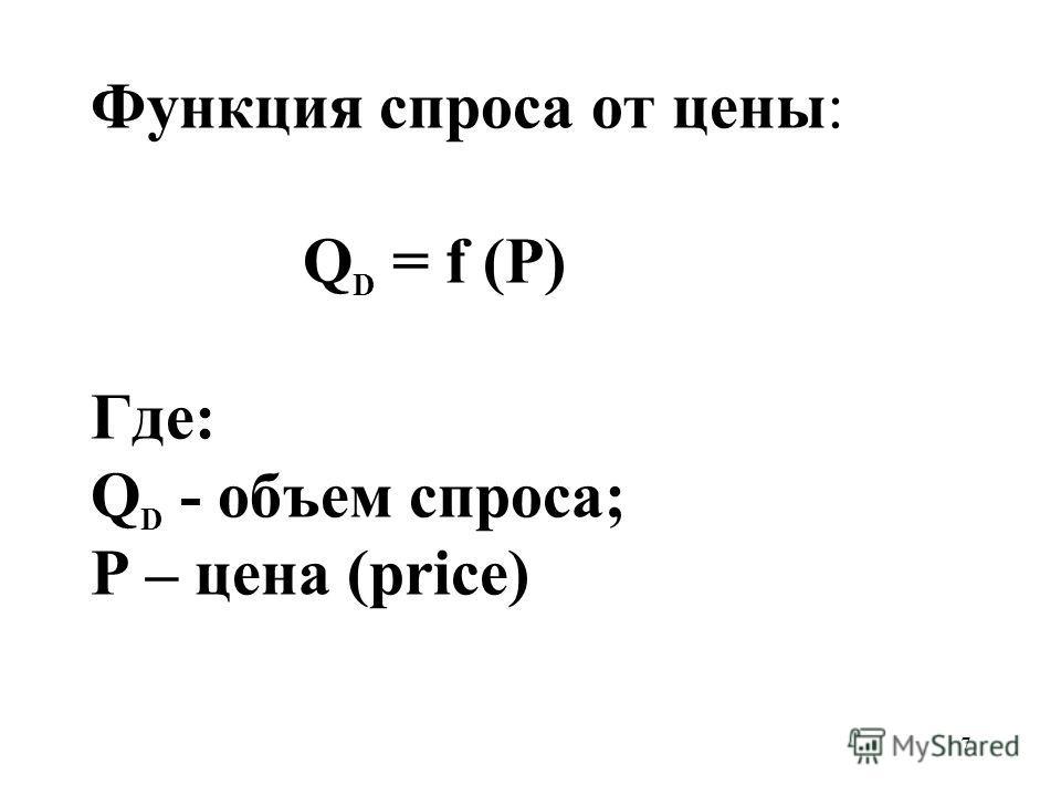 7 Функция спроса от цены: Q D = f (P) Где: Q D - объем спроса; Р – цена (price)