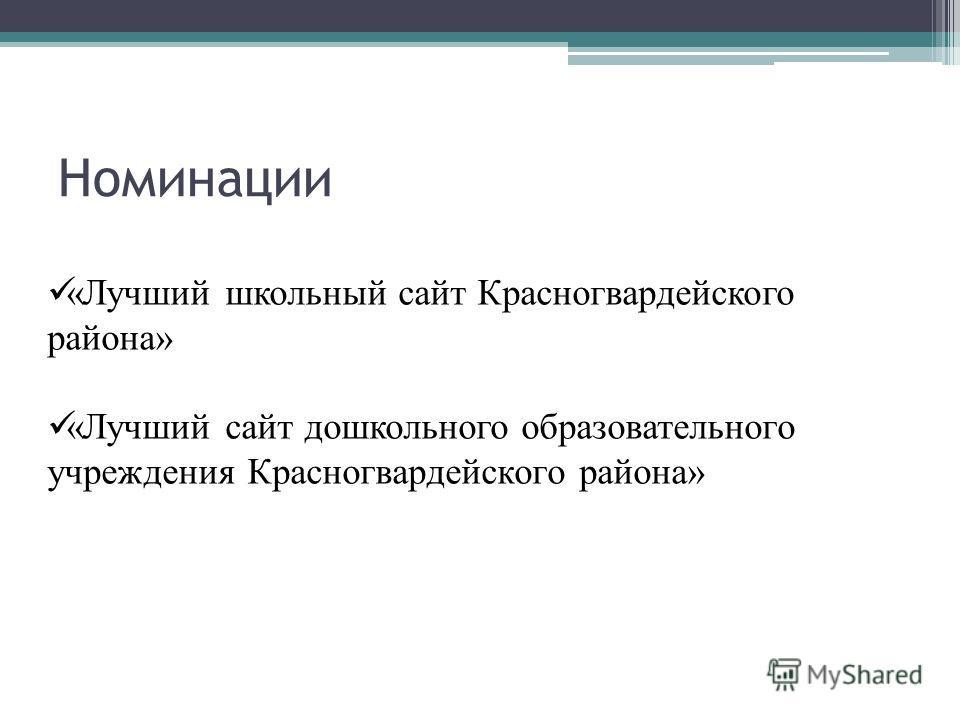 Номинации «Лучший школьный сайт Красногвардейского района» «Лучший сайт дошкольного образовательного учреждения Красногвардейского района»