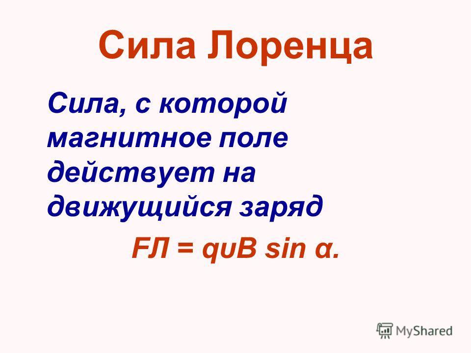 Сила Лоренца Сила, с которой магнитное поле действует на движущийся заряд FЛ = qυB sin α.