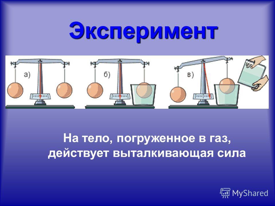 Эксперимент Эксперимент На тело, погруженное в газ, действует выталкивающая сила