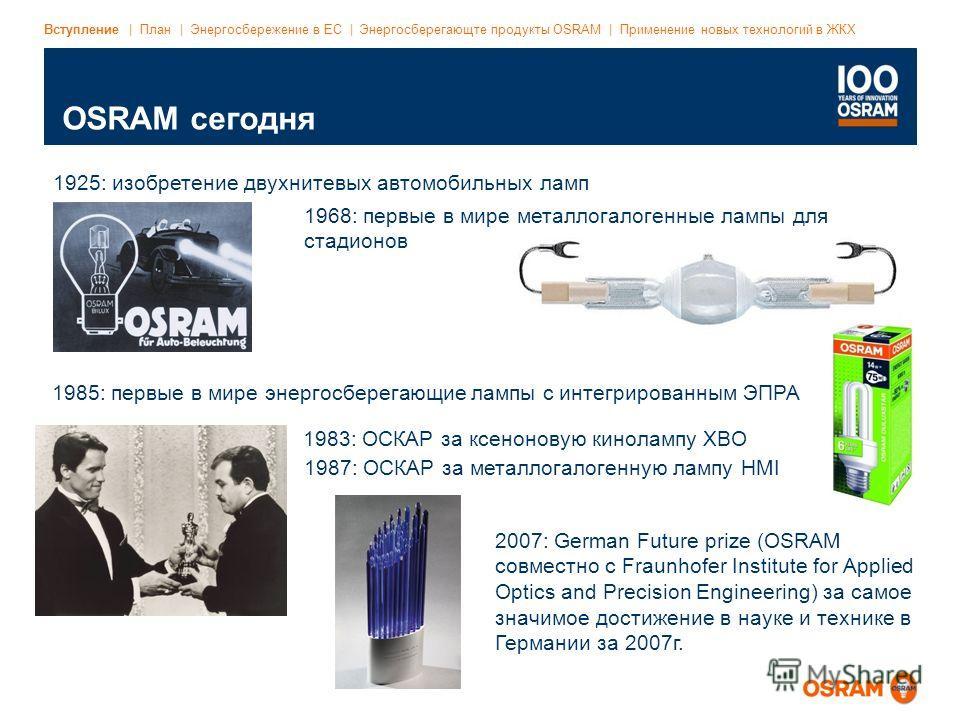 Event/Title | DD.MM.YYYY | Page 6 File name | Date: Latest status | Dept. abbreviation | Author's initials OSRAM сегодня Вступление | План | Энергосбережение в ЕС | Энергосберегающте продукты OSRAM | Применение новых технологий в ЖКХ 1925: изобретени