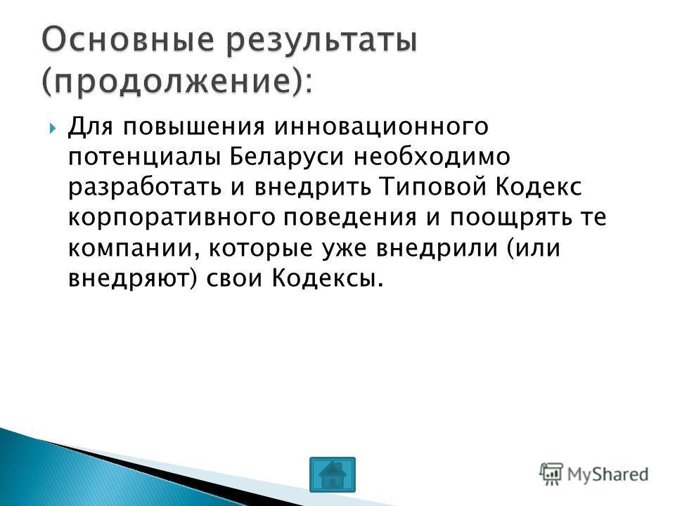 Для повышения инновационного потенциалы Беларуси необходимо разработать и внедрить Типовой Кодекс корпоративного поведения и поощрять те компании, которые уже внедрили (или внедряют) свои Кодексы.