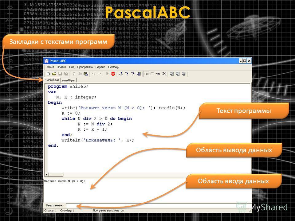 PascalABC Закладки с текстами программ Текст программы Область вывода данных Область ввода данных