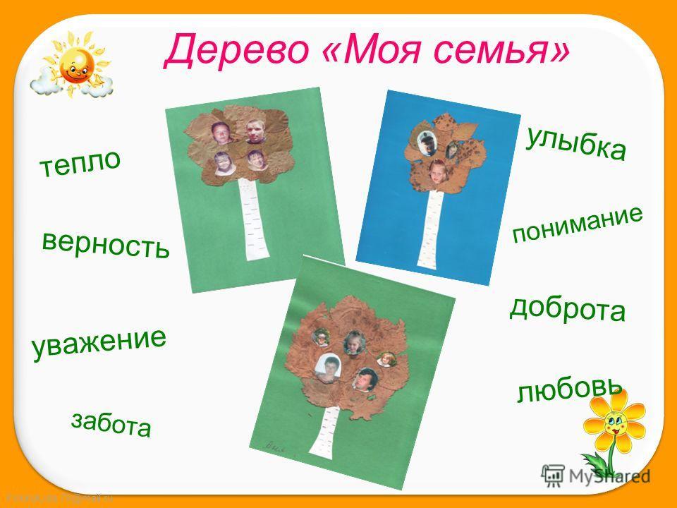 FokinaLida.75@mail.ru Дерево «Моя семья» тепло верность уважение забота улыбка понимание доброта любовь