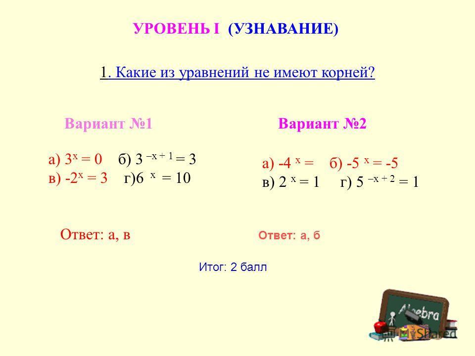 УРОВЕНЬ I (УЗНАВАНИЕ) 1. Какие из уравнений не имеют корней? Вариант 1 а) 3 х = 0 б) 3 –х + 1 = 3 в) -2 х = 3 г)6 х = 10 Ответ: а, в а) -4 х = б) -5 х = -5 в) 2 х = 1 г) 5 –х + 2 = 1 Вариант 2 Ответ: а, б Итог: 2 балл