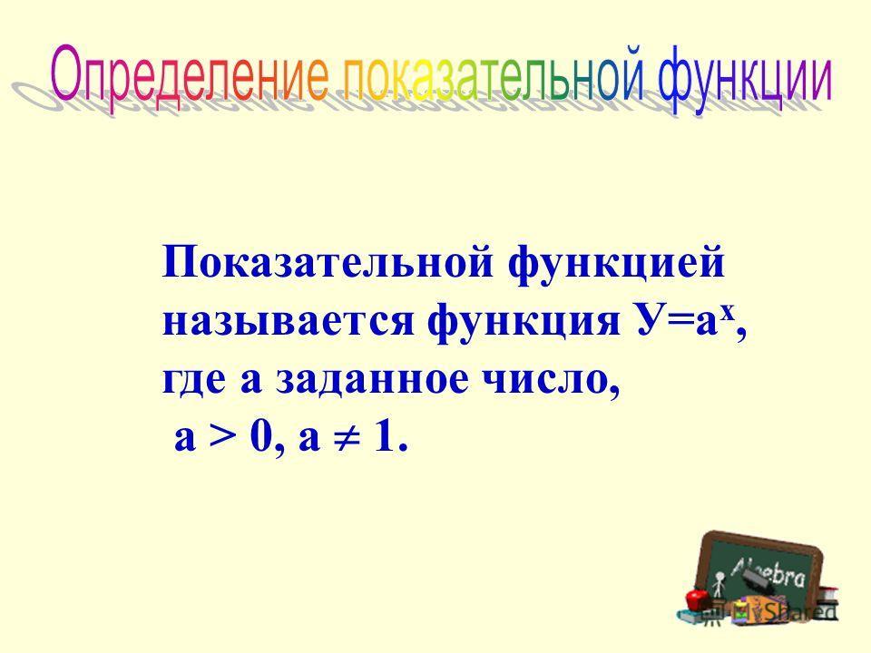 Показательной функцией называется функция У=а х, где а заданное число, а > 0, а 1.