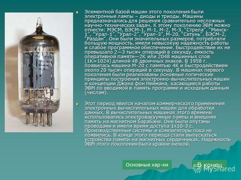 Элементной базой машин этого поколения были электронные лампы – диоды и триоды. Машины предназначались для решения сравнительно несложных научно-технических задач. К этому поколению ЭВМ можно отнести: МЭСМ, БЭСМ-1, М-1, М-2, М-З, Стрела, Минск- 1, Ур
