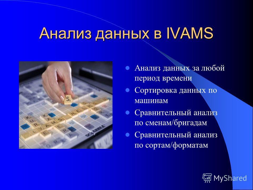Анализ данных в IVAMS Анализ данных за любой период времени Сортировка данных по машинам Сравнительный анализ по сменам/бригадам Сравнительный анализ по сортам/форматам
