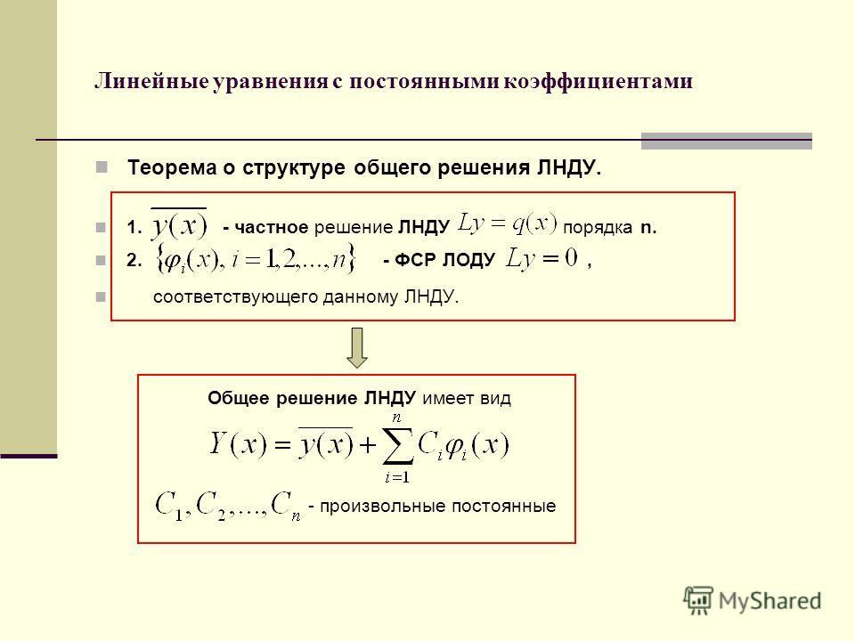 Линейные уравнения с постоянными коэффициентами Теорема о структуре общего решения ЛНДУ. 1. - частное решение ЛНДУ порядка n. 2. - ФСР ЛОДУ, соответствующего данному ЛНДУ. Общее решение ЛНДУ имеет вид - произвольные постоянные