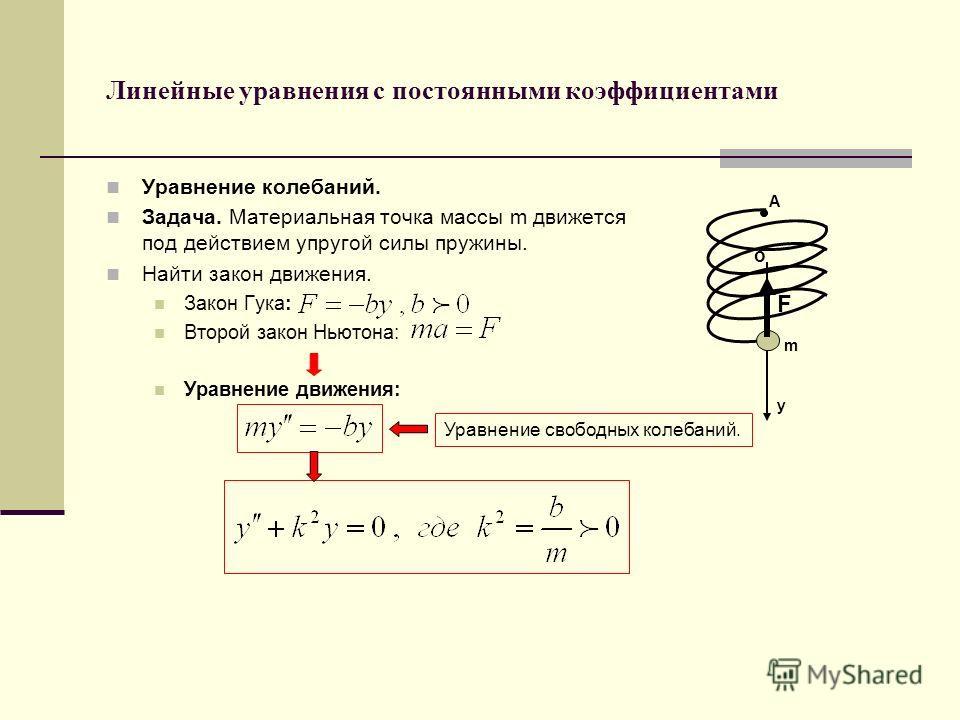 Линейные уравнения с постоянными коэффициентами Уравнение колебаний. Задача. Материальная точка массы m движется под действием упругой силы пружины. Найти закон движения. Закон Гука: Второй закон Ньютона: Уравнение движения: y F m o A Уравнение свобо