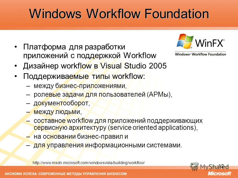 12 Windows Workflow Foundation Платформа для разработки приложений с поддержкой Workflow Дизайнер workflow в Visual Studio 2005 Поддерживаемые типы workflow: –между бизнес-приложениями, –ролевые задачи для пользователей (АРМы), –документооборот, –меж