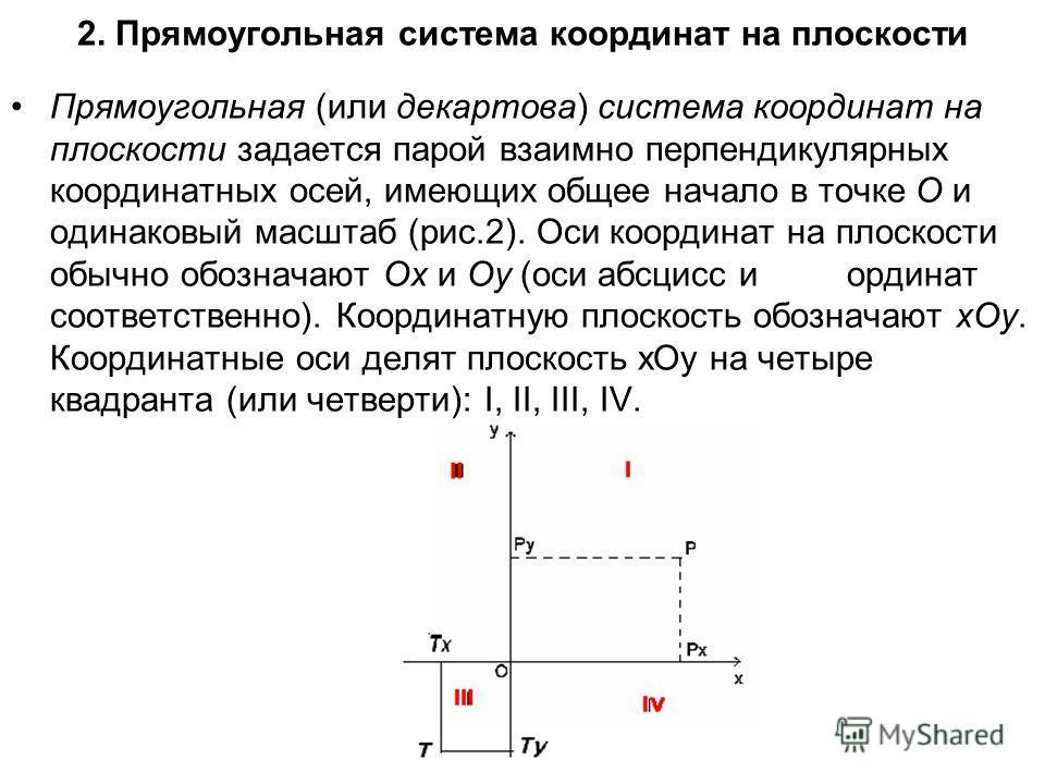 2. Прямоугольная система координат на плоскости Прямоугольная (или декартова) система координат на плоскости задается парой взаимно перпендикулярных координатных осей, имеющих общее начало в точке О и одинаковый масштаб (рис.2). Оси координат на плос