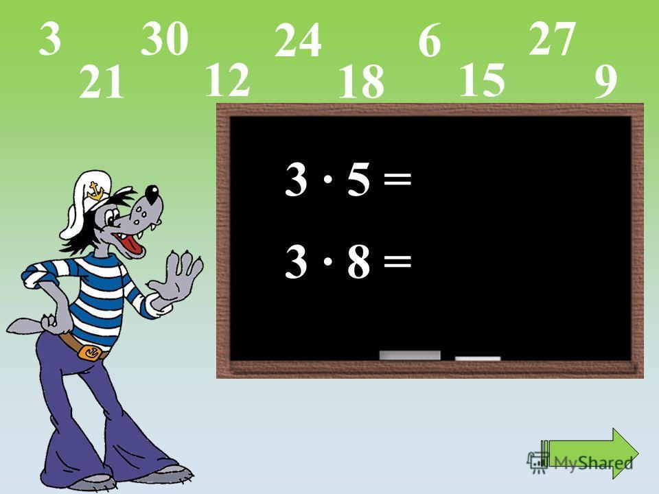 3 · 5 = 3 · 8 = 15 9 27 624 12 21 303 18