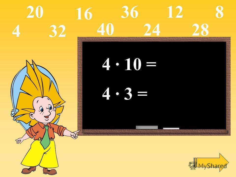 4 · 10 = 4 · 3 = 4 16 12820 2428 32 36 40
