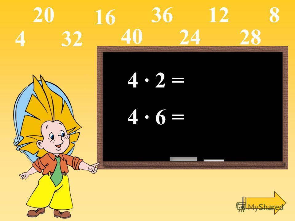 4 · 2 = 4 · 6 = 4 16 12820 2428 32 36 40