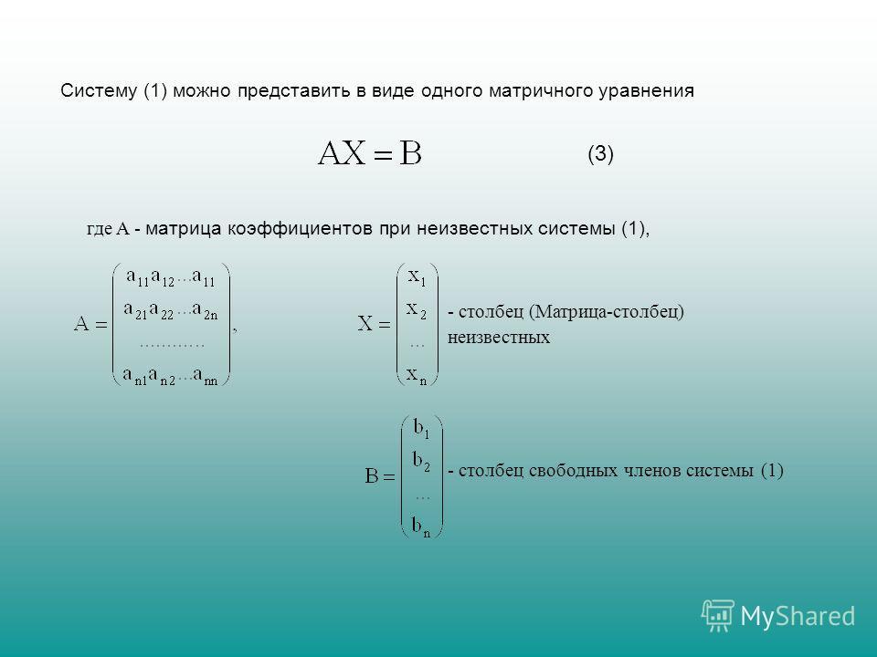 Систему (1) можно представить в виде одного матричного уравнения (3) где A - матрица коэффициентов при неизвестных системы (1), - столбец (Матрица-столбец) неизвестных - столбец свободных членов системы (1)