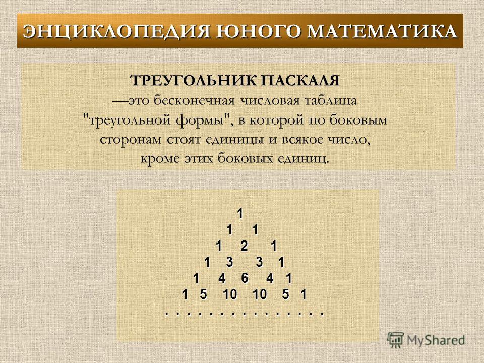 ТРЕУГОЛЬНИК ПАСКАЛЯ это бесконечная числовая таблица треугольной формы, в которой по боковым сторонам стоят единицы и всякое число, кроме этих боковых единиц. 1 1 1 1 2 1 1 3 3 1 1 4 6 4 1 1 5 10 10 5 1............... ЭНЦИКЛОПЕДИЯ ЮНОГО МАТЕМАТИКА