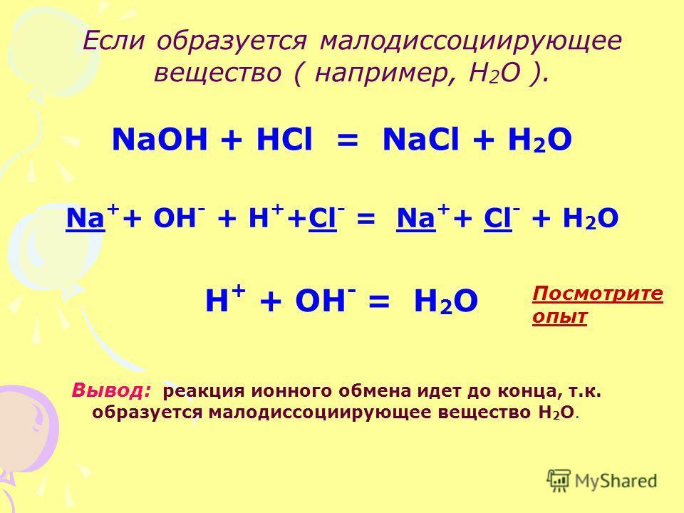 Если образуется малодиссоциирующее вещество ( например, Н 2 О ). NaOH + HCl = NaCl + H 2 O Na + + OH - + H + +Cl - = Na + + Cl - + H 2 O H + + OH - = H 2 O Вывод: реакция ионного обмена идет до конца, т.к. образуется малодиссоциирующее вещество Н 2 О