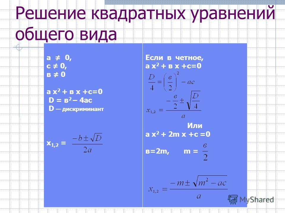 Решение неполных квадратных уравнений в = 0, с = 0 а х 2 = 0 х = 0 с = 0 а х 2 + в х = 0 х ( а х + в ) = 0 х =0; а х + в = 0 х = - в/a в =0 а х 2 + с = 0 х 2 = – с/a Если с/a > 0, решений нет Если с/a < 0, то х =