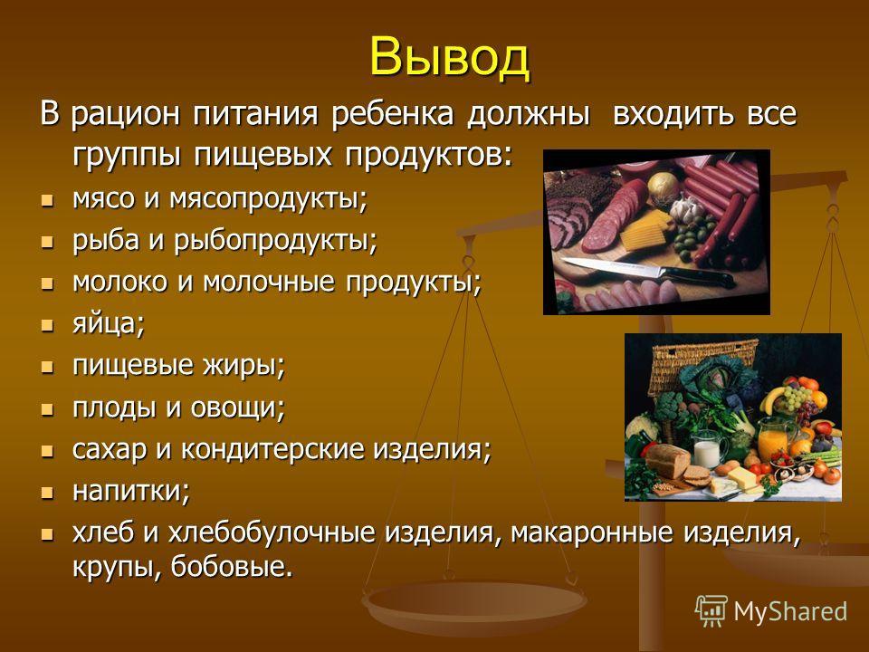 Вывод В рацион питания ребенка должны входить все группы пищевых продуктов: мясо и мясопродукты; мясо и мясопродукты; рыба и рыбопродукты; рыба и рыбопродукты; молоко и молочные продукты; молоко и молочные продукты; яйца; яйца; пищевые жиры; пищевые