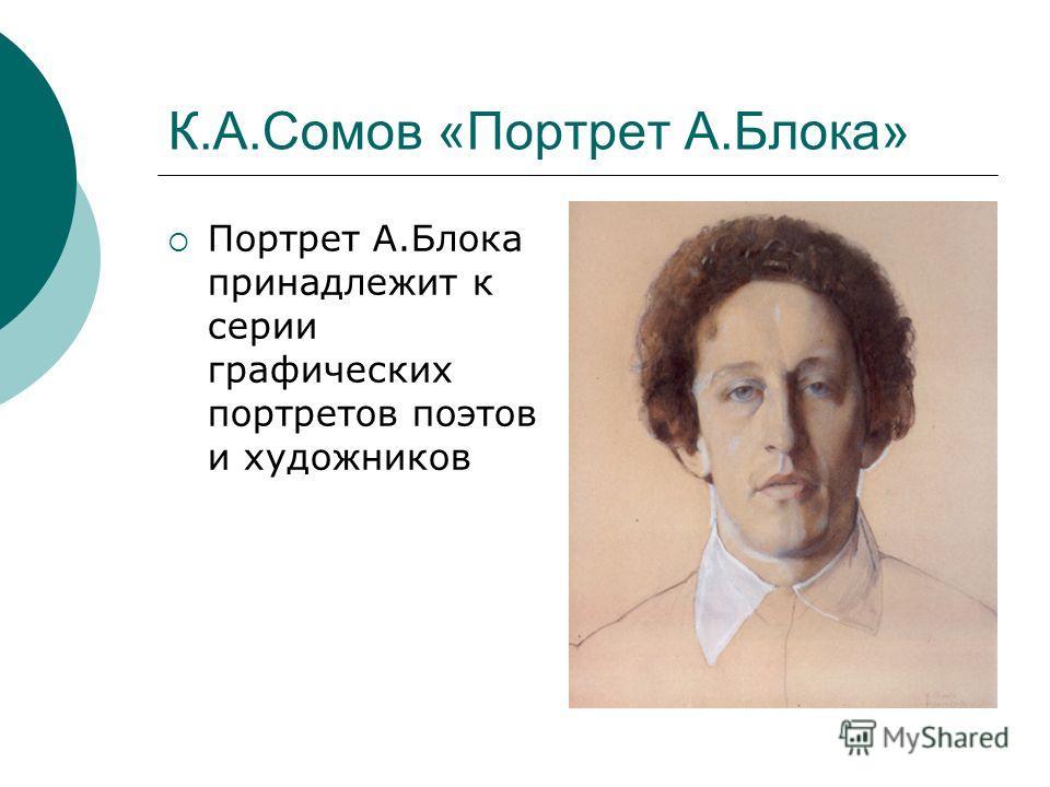 К.А.Сомов «Портрет А.Блока» Портрет А.Блока принадлежит к серии графических портретов поэтов и художников