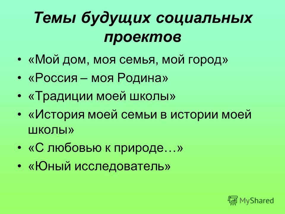 Темы будущих социальных проектов «Мой дом, моя семья, мой город» «Россия – моя Родина» «Традиции моей школы» «История моей семьи в истории моей школы» «С любовью к природе…» «Юный исследователь»