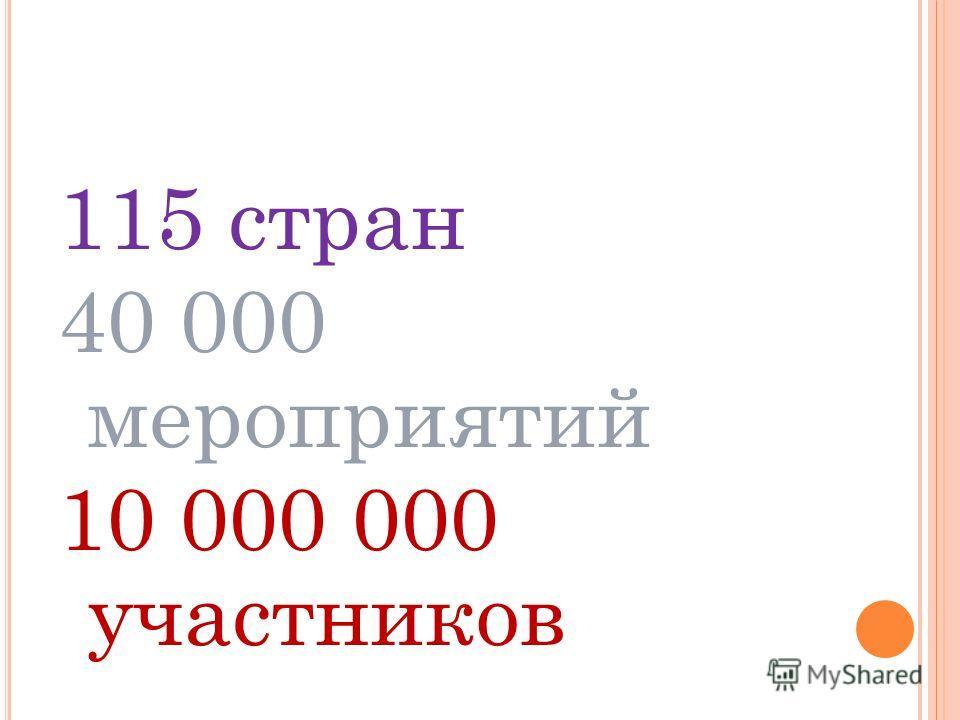 115 стран 40 000 мероприятий 10 000 000 участников