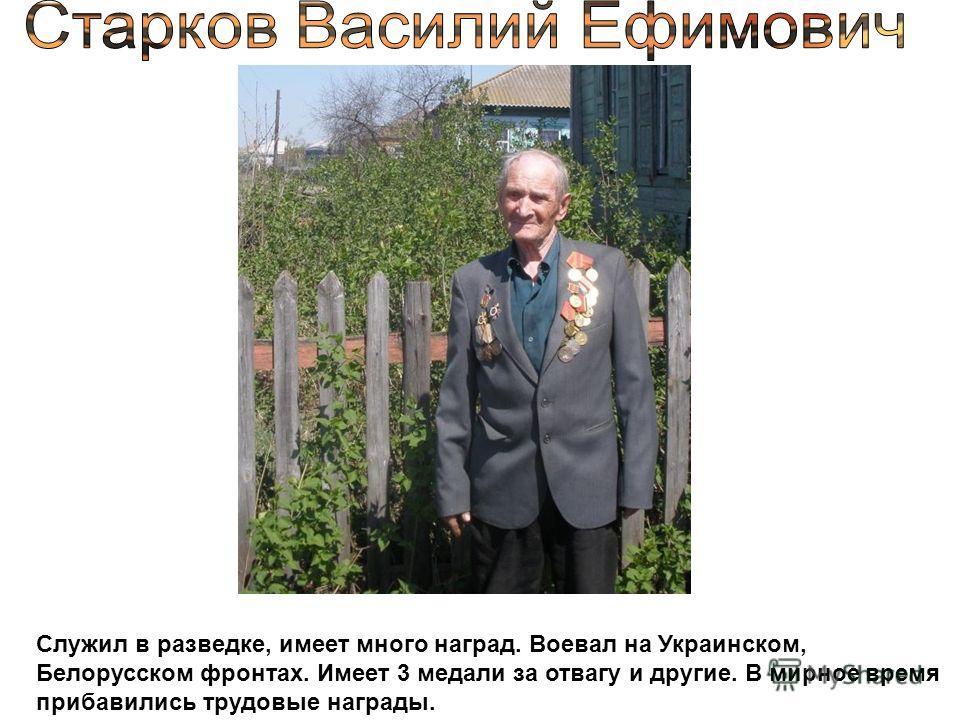 Служил в разведке, имеет много наград. Воевал на Украинском, Белорусском фронтах. Имеет 3 медали за отвагу и другие. В мирное время прибавились трудовые награды.