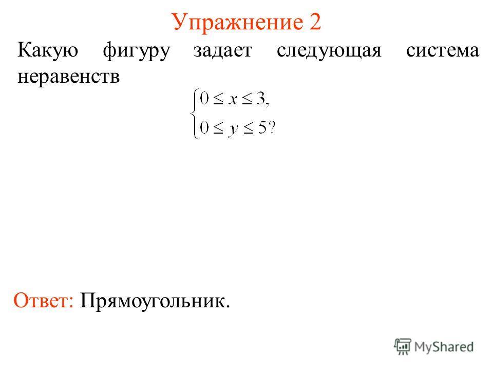 Упражнение 2 Какую фигуру задает следующая система неравенств Ответ: Прямоугольник.